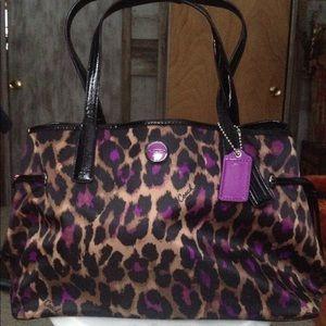 COACH Ocelot Leopard Carryall Tote Shoulder Bag