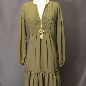 Bannana Republic Olive Peasant Dress