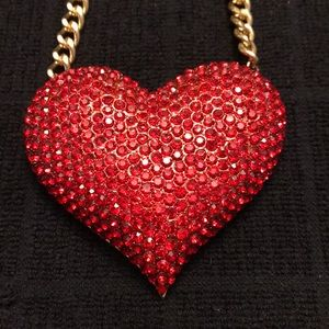 Red Rhinestone Statement Heart Necklace