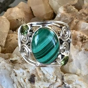 Malachite and peridot solid sterling wire ring