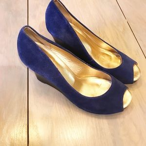 Lilly Pulitzer cobalt blue suede wedges, size 7.5