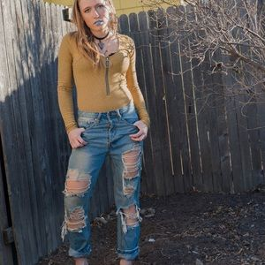 Ripped Boyfriend Jeans Baggy Lightwash Holes