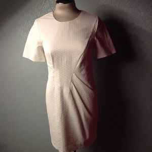 white TOPSHOP pique side gather dress S (D3)