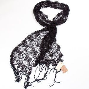 Lucky Brand paisley park black crochet scarf