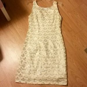 Gold and White sequin Cocktail Dress Size 8
