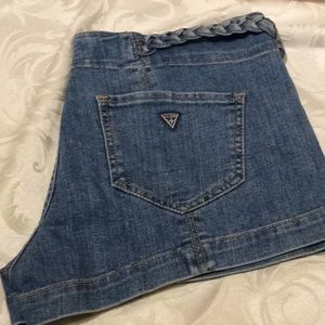 Guess Sz 29 Denim Shorts With Braided Waist Accent