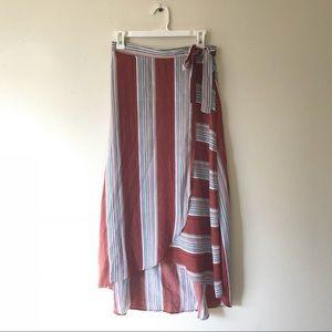 Striped wrap skirt, tulip hem.