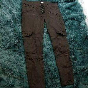 Hudson Nomad Black Stretch Skinny Cargo Jeans