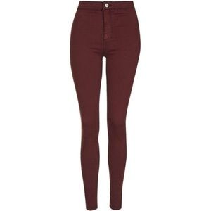 Denim - Top Shop moto jeans in oxblood / burgundy