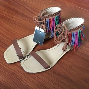 ZARA Multicolor Fringed Flat Leather Sandals