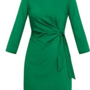 Diane Von Furstenberg Zoe green crepe stretch silk
