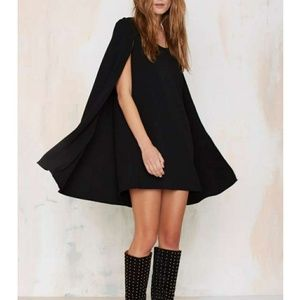 Nasty Gal Catherine Cape Black Dress Size Medium
