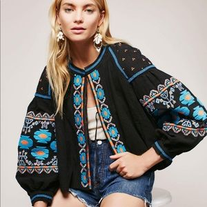 Free People embroidered swingy jacket.