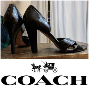 COACH - Bardot Patent Leather Peep Toe heels