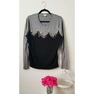Black & Grey Rhinestone Sweater