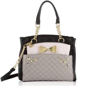 Betsey Johnson Gray Black Medium Shopper