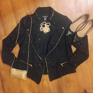 🆕🎄🎉PLUS Frank Lyman Open Blazer- Black/Gold-16