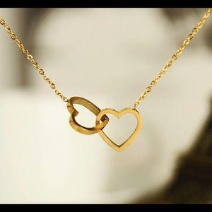 Double Heart Pendant Necklace 18K GP
