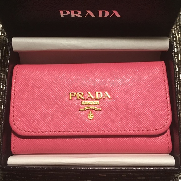 341d4f713e5d ... coupon for auth prada pink saffiano key holder in geranio b6800 8b98e
