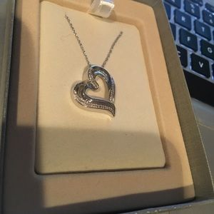 Sterling Silver Diamond Accent Heart Necklace NEW