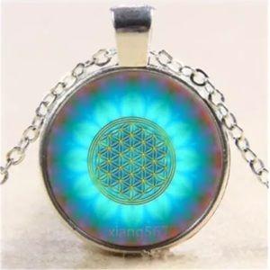 Blue Mandala Glass & Tibetan Silver Necklace