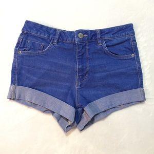 Zara Trafaluc Blue Roll Up Stretch Denim Shorts