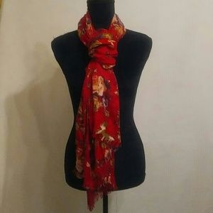 Pretty Exotic Floral fringe scarf