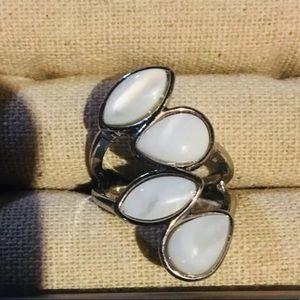 NEW White Stone Silver Tone Ring