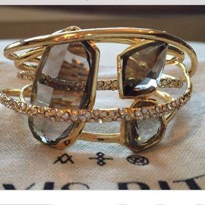 Alexis Bittar Gold Tone Crystal Cuff Bracelet