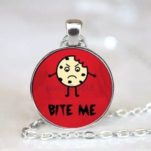 Bite Me Cookie Glass & Tibetan Silver Necklace