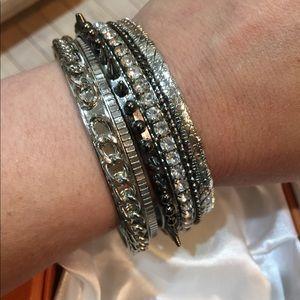 Lane Bryant stackable silver plated bracelets