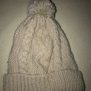 off white cable knit beanie with Pom Pom