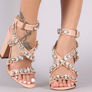 Super cute nude creamy rhinestone chunk heels.