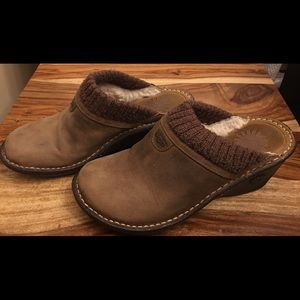 UGG Sheepskin Leather Shearing Wedge Heel Shoes
