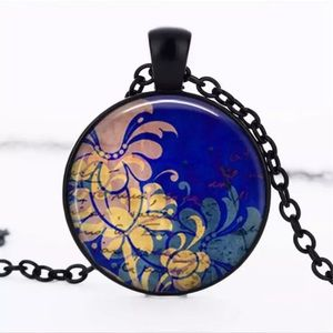 Blue Hawaiian Print Glass & Black Alloy Necklace