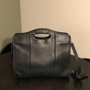 Vtg. COACH Black Leather Zip Top Shopper Satchel