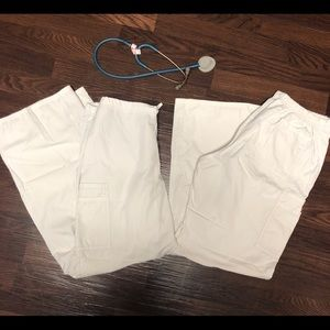 TWO White Scrub Pants BUNDLE LOT