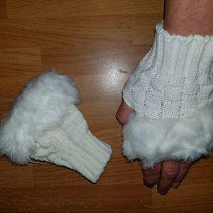 Genuin rabbit fur gloves w knit...