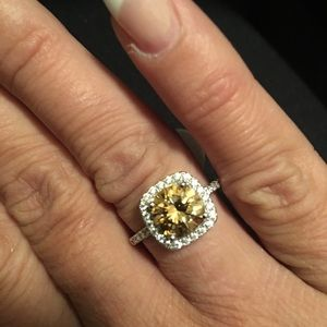 Sterling Silver Rare Gold color Moissanite Ring
