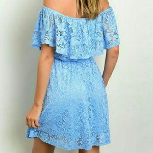 🌟5 STAR RATED🌟blue lace off the shoulder dress