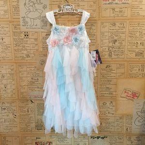 Pastel cascading ruffle dress