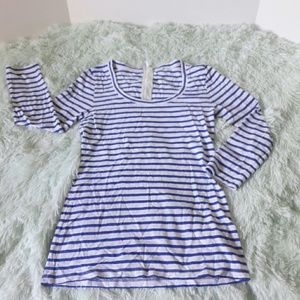 J. Crew long sleeve striped tee with zipper back