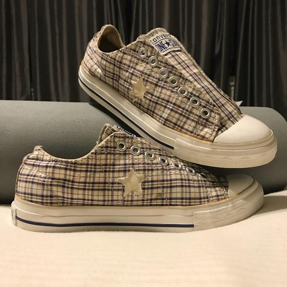 Converse Shoes - Converse One Star laceless plaid shoes. Size 9.5 a1281a58f