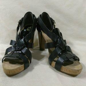 Cole Haan cork heels Black Patent