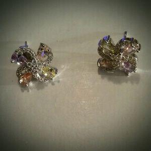 Beautiful & Colorful Crystal Flower Stud Earrings