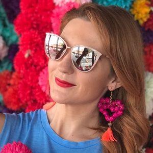 New Mexican Handmade Earrings Heart Tassel Palm