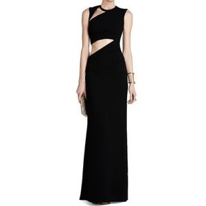 BCBG black evening gown, asymmetric cut out dress