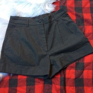 H&M grey wool cuffed winter shorts