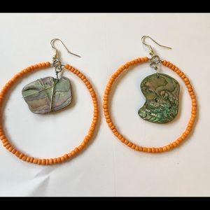 Boho abalone hoop earrings