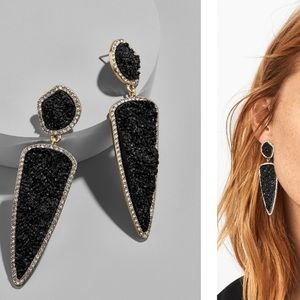 "NWT Rich Real Druzy Stones Earrings""black or gray"""